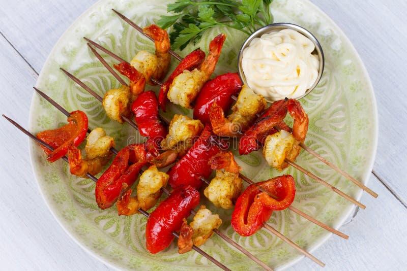 Krewetkowy Kebabs zdjęcia stock