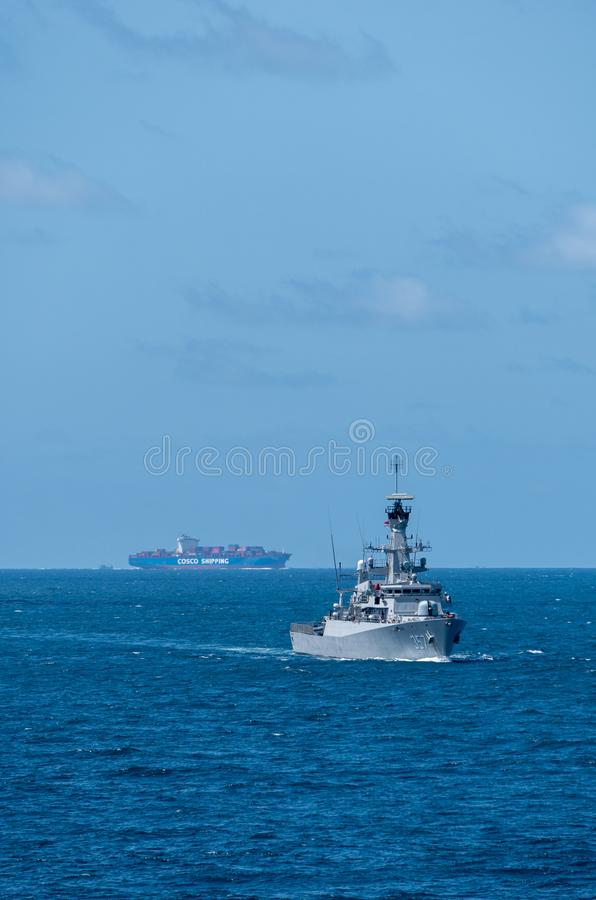 KRI Bung Tomo, Indonesian corvette sails in the sea during the 20th Sea Garuda 2019 Exercise. CHONBURI, THAILAND - AUGUST 18, 2019: KRI Bung Tomo, Indonesian royalty free stock image