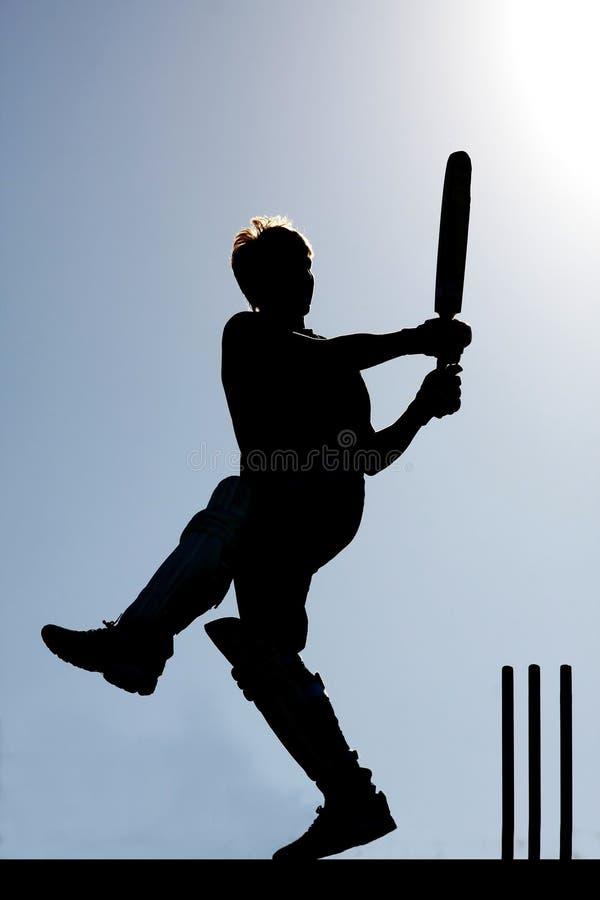 Kricket-Spieler-Schattenbild stockbild
