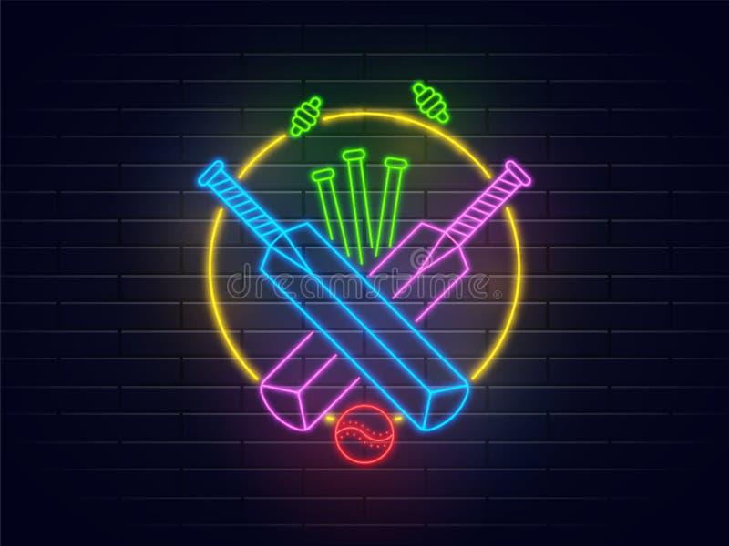 Kricketschläger, Ball und Stümpfe im Neonlichteffekt auf den Ziegelstein wal lizenzfreie abbildung