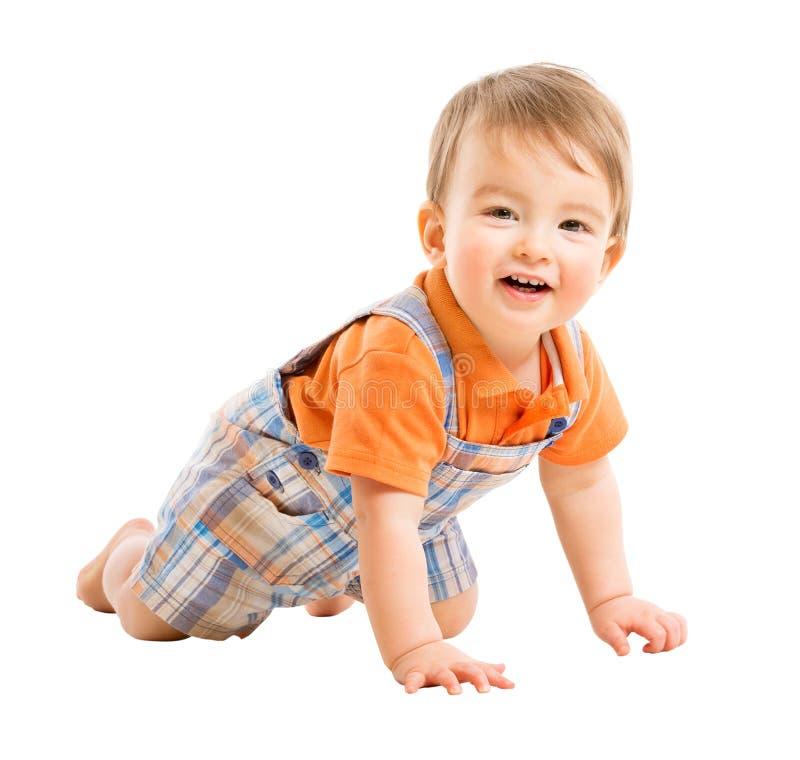 Kriechendes Kind, Kind eins jährig, glückliches Baby lokalisiert über Weiß lizenzfreie stockbilder