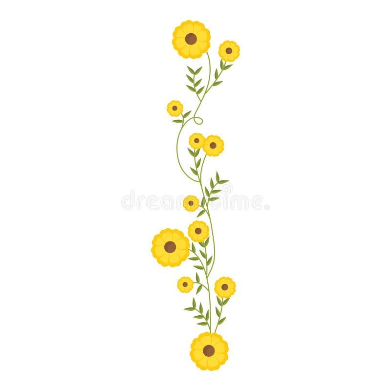 Kriechpflanze mit Gelb blüht Blumenmuster lizenzfreie abbildung