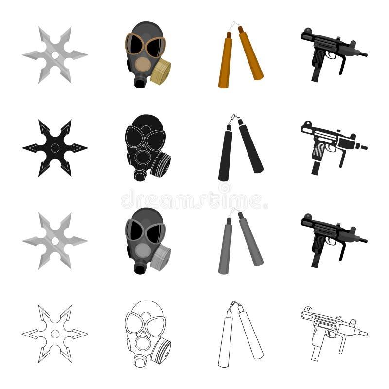 Krieg, Armee, Bewaffnung und andere Netzikone in der Karikaturart Schießen, Hafen, Waffen, Ikonen in der Satzsammlung vektor abbildung