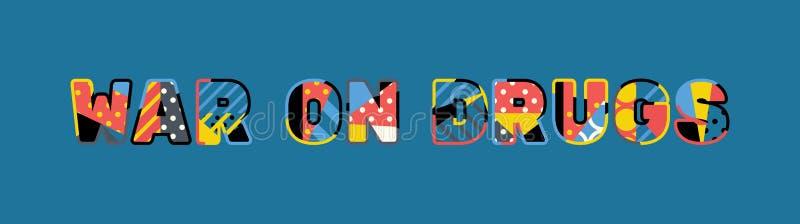 Krieg auf Drogen-Konzept-Wort Art Illustration lizenzfreie abbildung