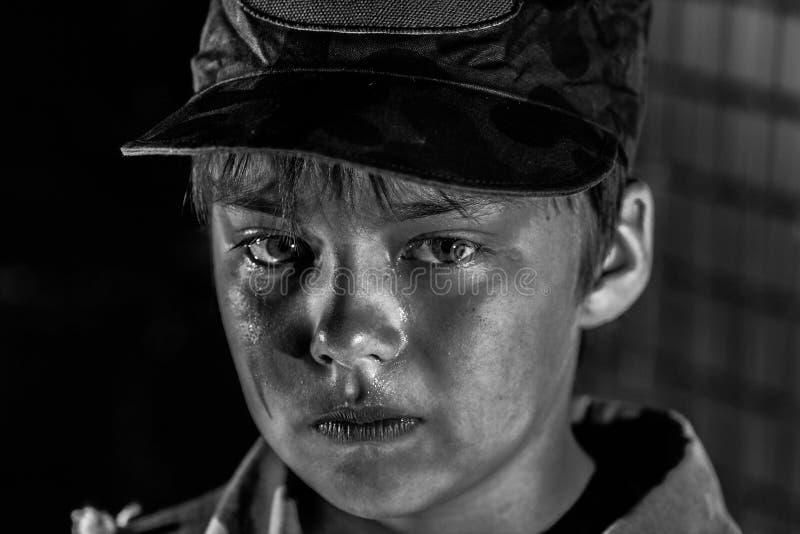 Krieg und Kindheit stockbild