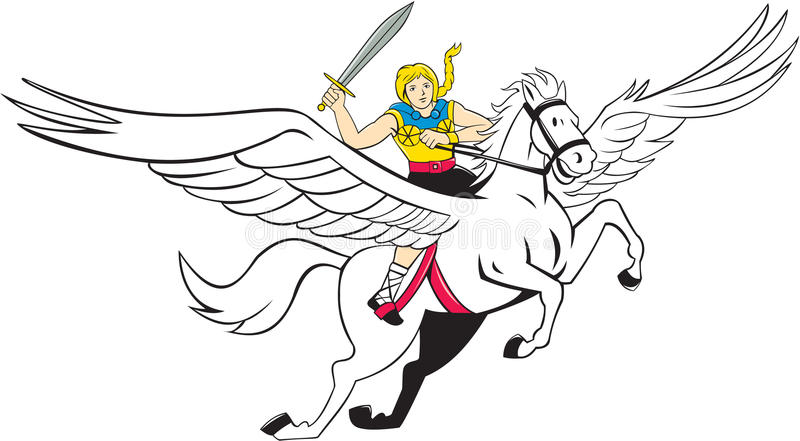 Kriegers-Fliegen-Pferdekarikatur Valkyrie Amazonas lizenzfreie abbildung