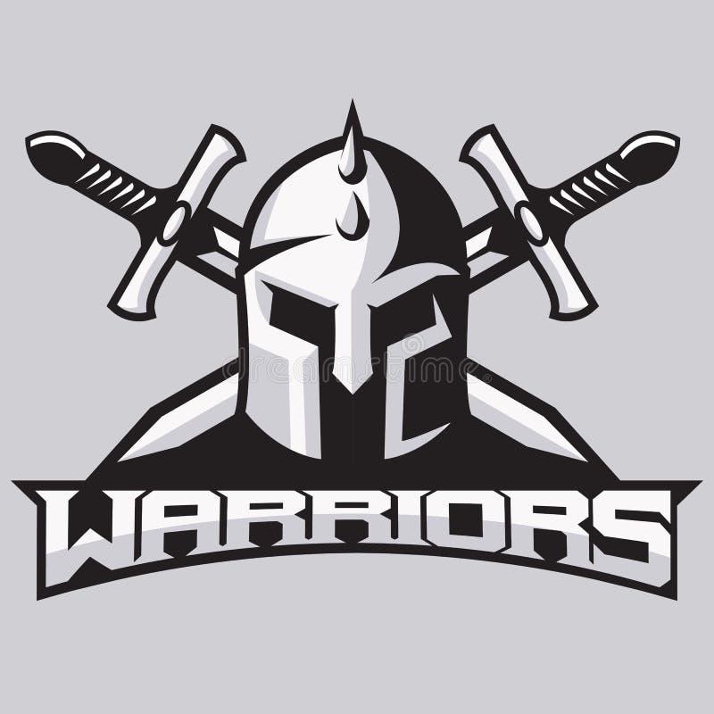 Kriegersmaskottchen für Sportteams Sturzhelm mit Klingen, Logo, Symbol auf einem hellen Hintergrund lizenzfreie stockbilder