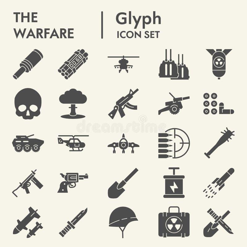 Kriegsführung Glyph-Ikonensatz, Armeesymbole Sammlung, Vektorskizzen, Logoillustrationen, festes Piktogrammpaket der Kriegszeiche vektor abbildung
