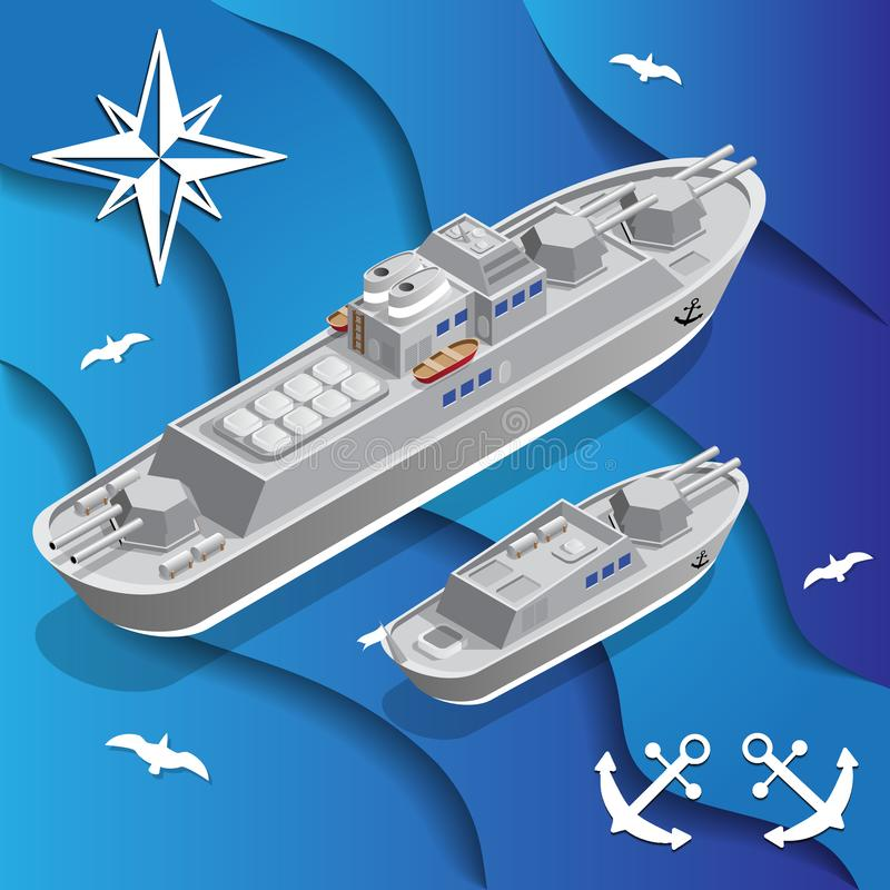 Kriegsschiffe lizenzfreie abbildung