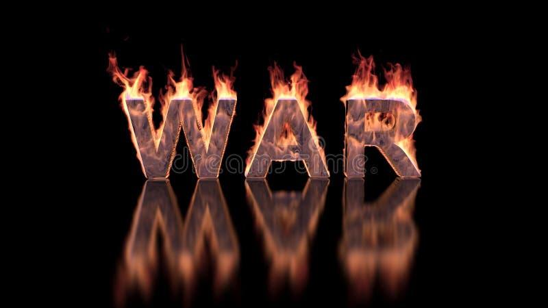 Kriegstext, der im Feuer auf glatter Oberfläche brennt lizenzfreie stockfotos