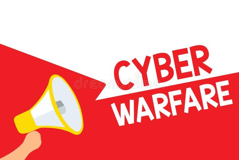 Krig för Cyber för ordhandstiltext Affärsidéen för faktiskt krigen hackersystem anfaller Digital tjuvStalker Megaphone loudspeak royaltyfri illustrationer