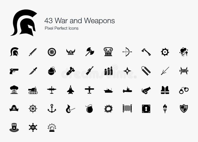 43 krig och perfekta symboler för vapenPIXEL stock illustrationer