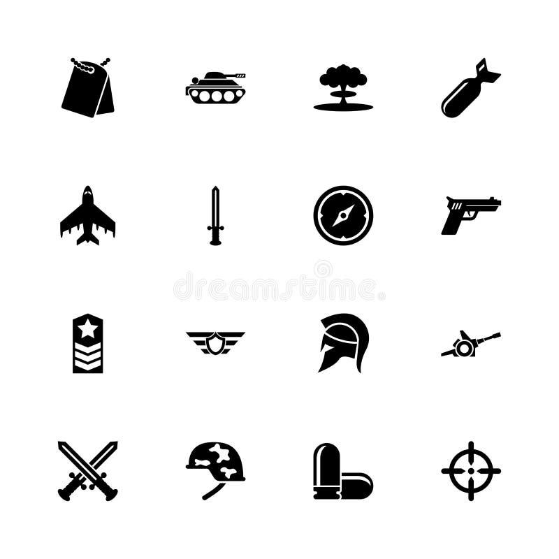 Krig - plana vektorsymboler royaltyfri illustrationer