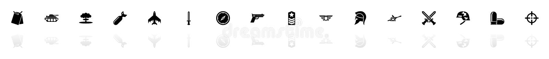 Krig - plana vektorsymboler stock illustrationer