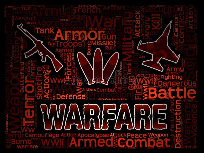 Krig uttrycker att indikera militära insatser och hostiliteter stock illustrationer
