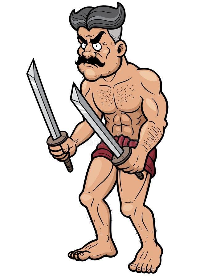 krigare stock illustrationer