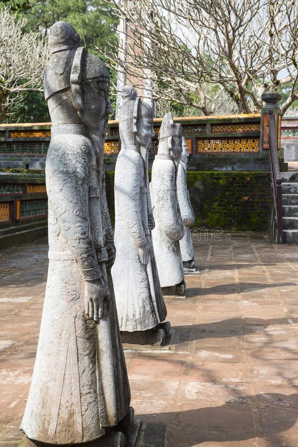 Krigare på gravvalvet av Tu Duc i Hue Vietnam royaltyfria foton