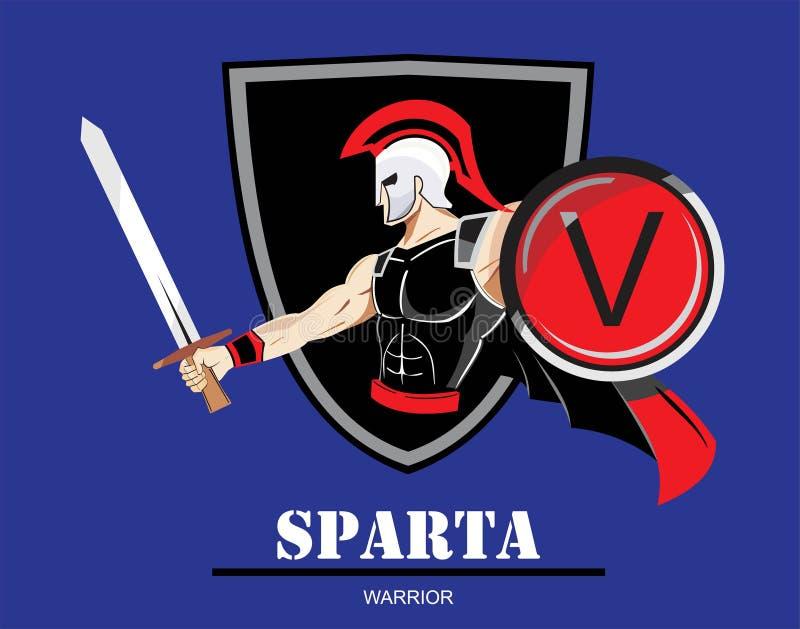 krigare sparta trojan färgrik illustration av spartanskt vektor illustrationer
