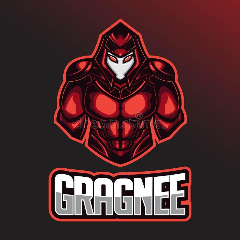 KrigareEsport logo Esport logomall med att bära en hjälm- och stridharnesk vektor illustrationer