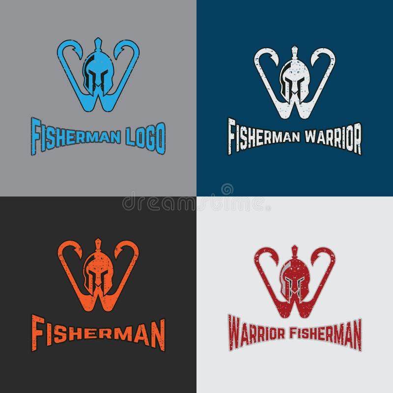 Krigarefiskare Logo Template med krigaren och kroken stock illustrationer