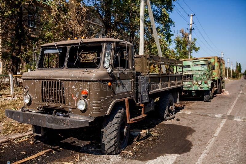 Kriget åtgärdar efterdyning, den Ukraina och Donbass konflikten royaltyfri fotografi