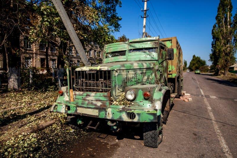 Kriget åtgärdar efterdyning, den Ukraina och Donbass konflikten arkivfoton