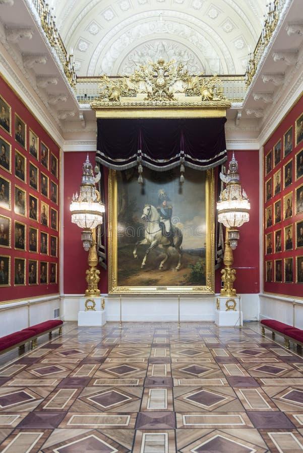Kriggalleri av 1812 tillståndseremitboningmuseet St Petersburg Ryssland royaltyfri foto