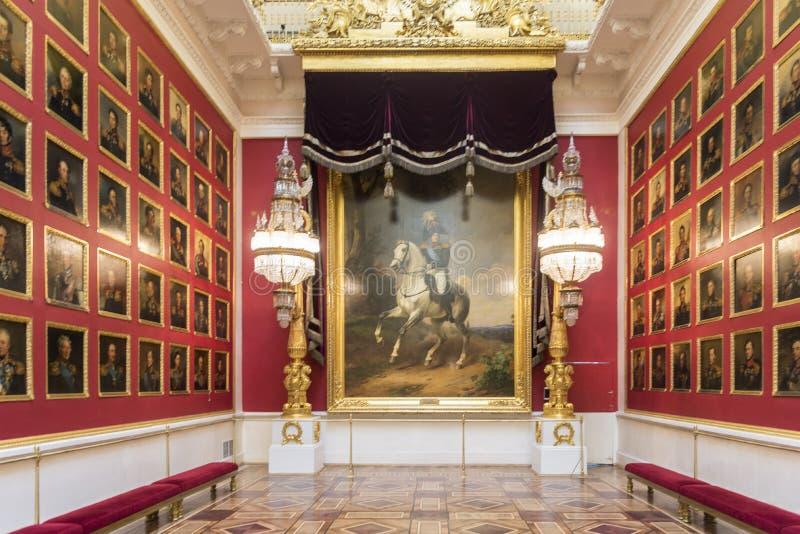 Kriggalleri av 1812 tillståndseremitboningmuseet St Petersburg Ryssland royaltyfria foton