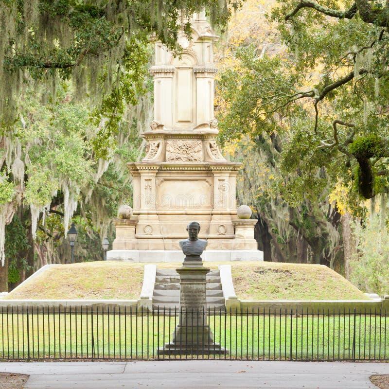Krigminnesmärken Forsyth parkerar Savannah Georgia GUMMIN USA royaltyfri fotografi