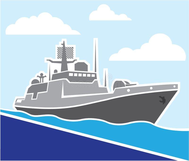 Krigskepp stock illustrationer