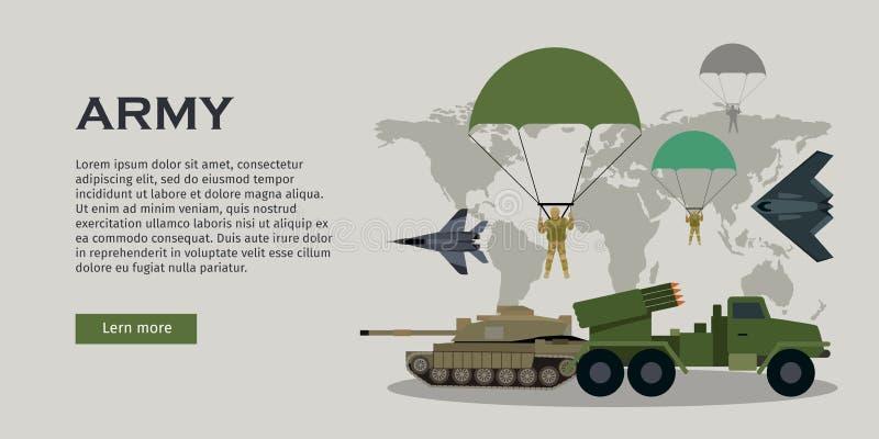 Krigsmaktvektorbegrepp i plan design vektor illustrationer