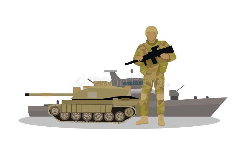 Krigsmaktvektorbegrepp i plan design stock illustrationer