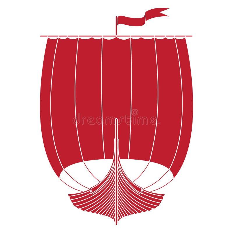 Krigsskepp av vikingarna Drakkar royaltyfri illustrationer
