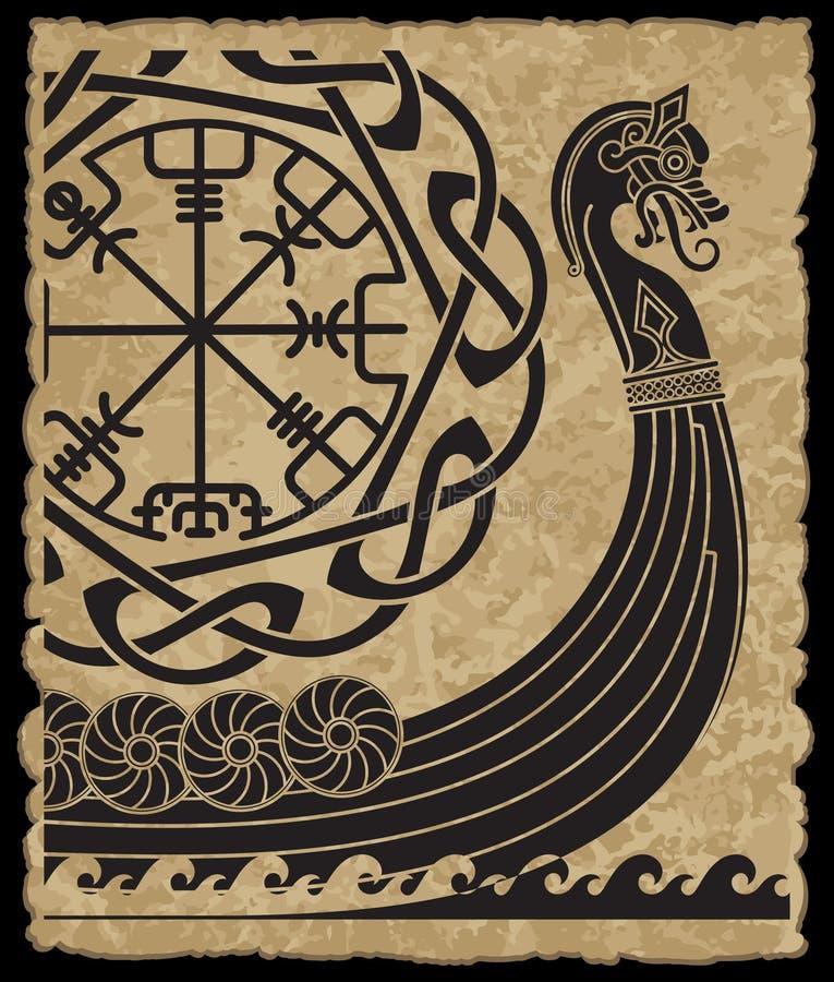 Krigsskepp av vikingarna Drakkar, forntida scandinavian modell och norserunor royaltyfri illustrationer