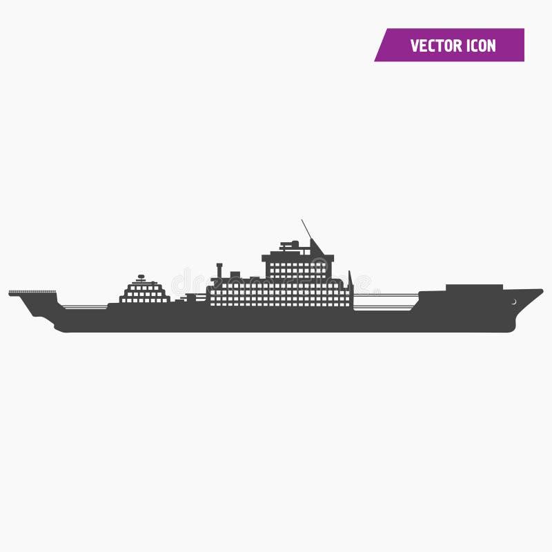 Krigsskepp milit?r skeppsymbol stock illustrationer