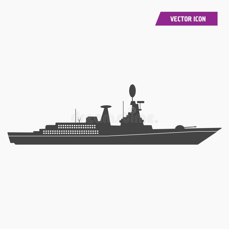 Krigsskepp milit?r skeppsymbol royaltyfri illustrationer