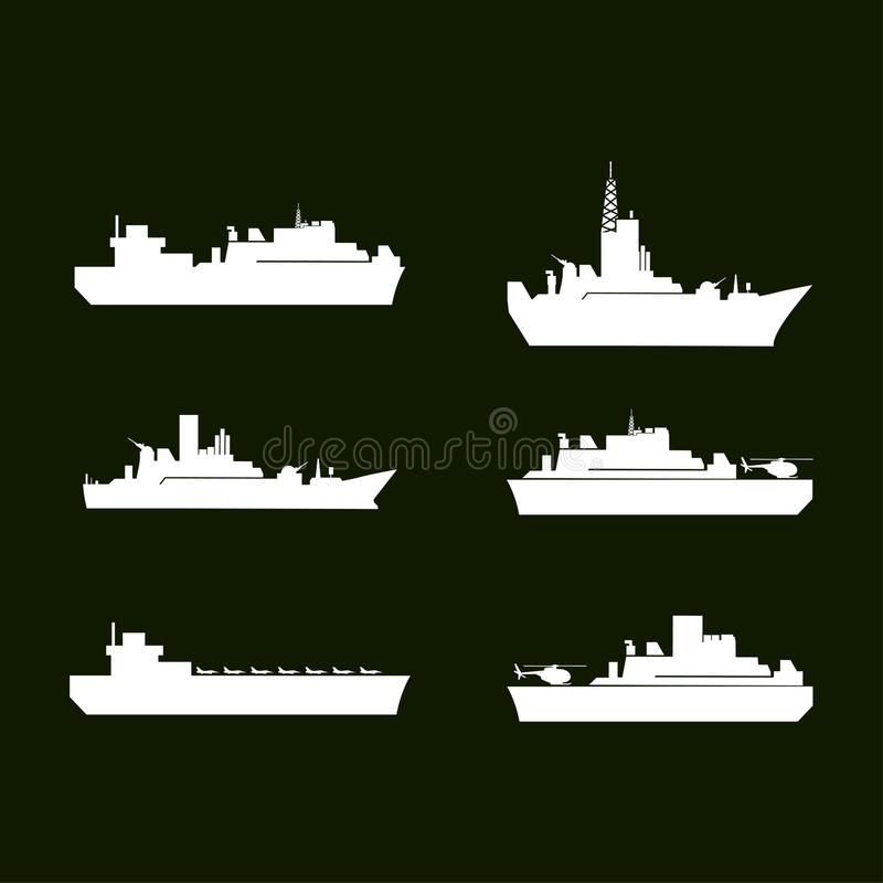 Krigsymboler Vita arméskepp Uppsättning av 6 arméskepp Grön backgrou royaltyfri illustrationer