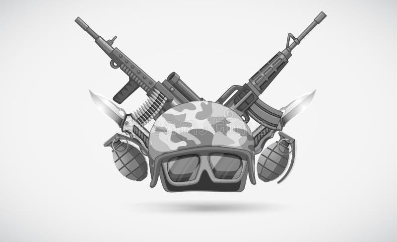 Krigtema med hjälmen och vapen vektor illustrationer
