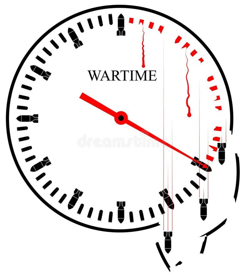 Krigtimmar - en symbolisk bild varje minut tar liv och förstör allt omkring Terrorism och rov- krig royaltyfri illustrationer