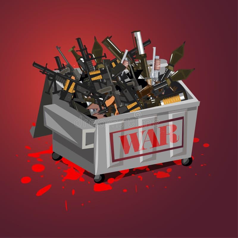 Krigvapen i avskräde Stoppa krigbegreppet stoppa dödandet - vektorillustration royaltyfri illustrationer