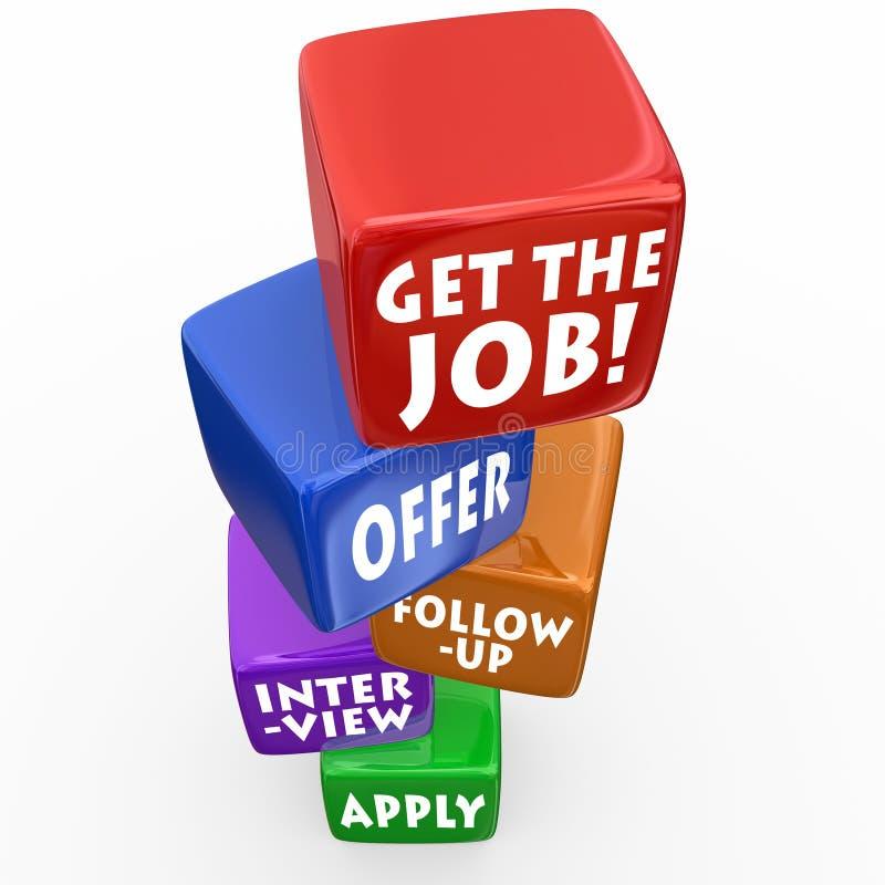 Krijg de Job Application Process Interview Follow-Up-Aanbieding royalty-vrije illustratie