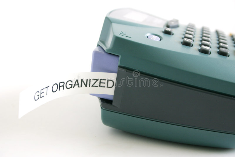 Krijg georganiseerd etiket stock foto