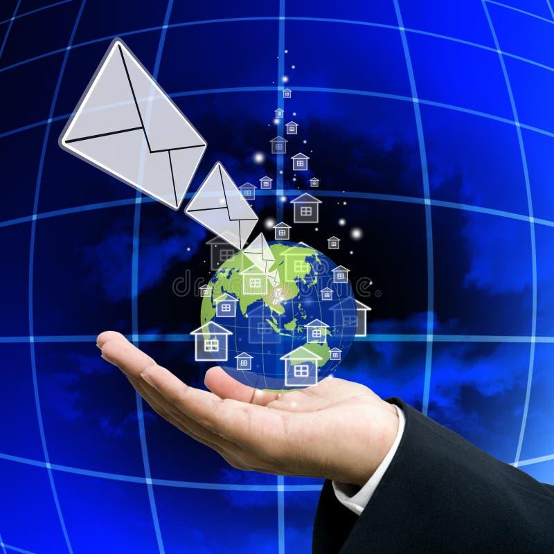 Krijg het nieuws van netwerk, Globalisering stock foto's
