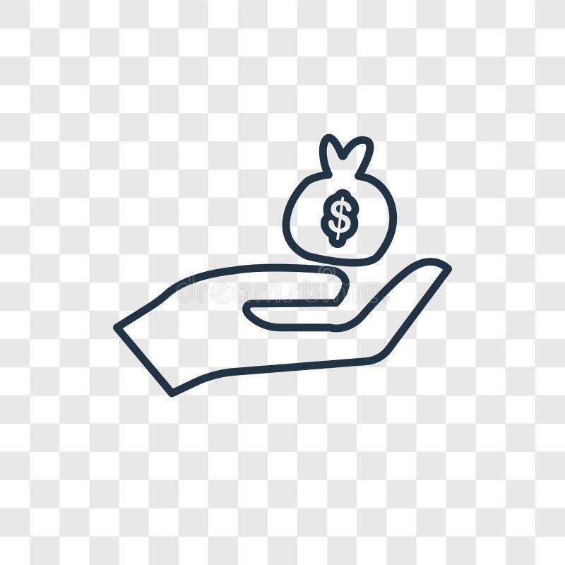 Krijg het vector lineaire die pictogram van het geldconcept op transparante bac wordt geïsoleerd royalty-vrije illustratie