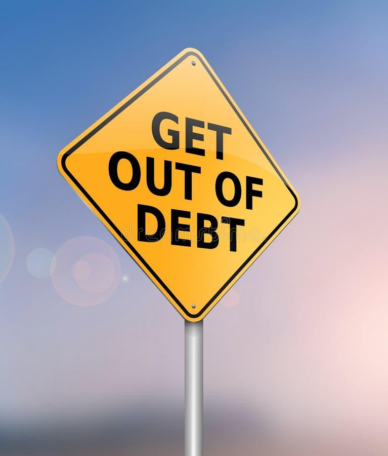 Krijg uit schuldconcept stock illustratie