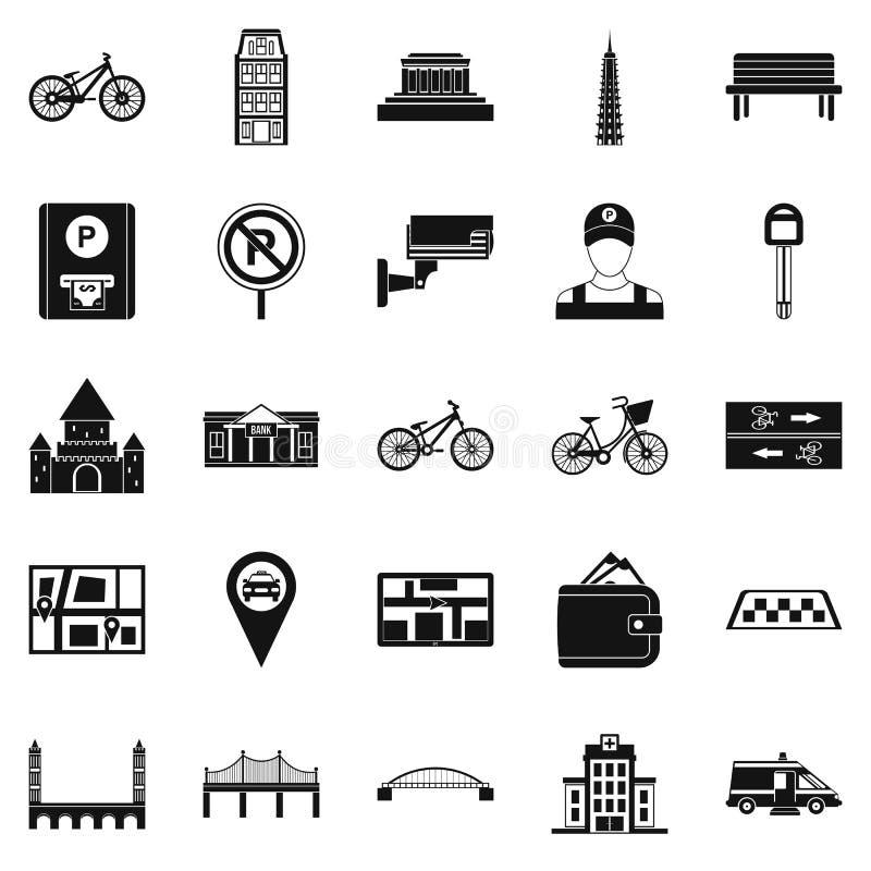 Krijgend rond de geplaatste stadspictogrammen, eenvoudige stijl stock illustratie