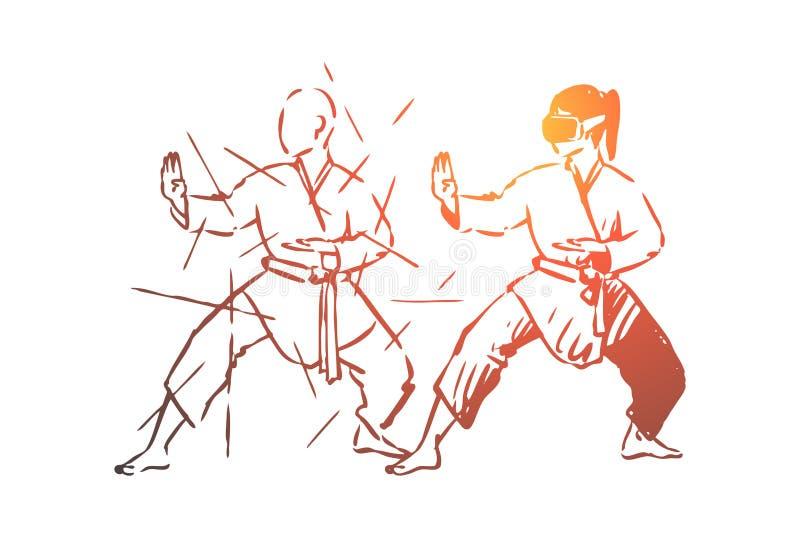 Krijgs, kunsten, strijd, gevecht, opleidingsconcept Hand getrokken ge?soleerde vector stock illustratie