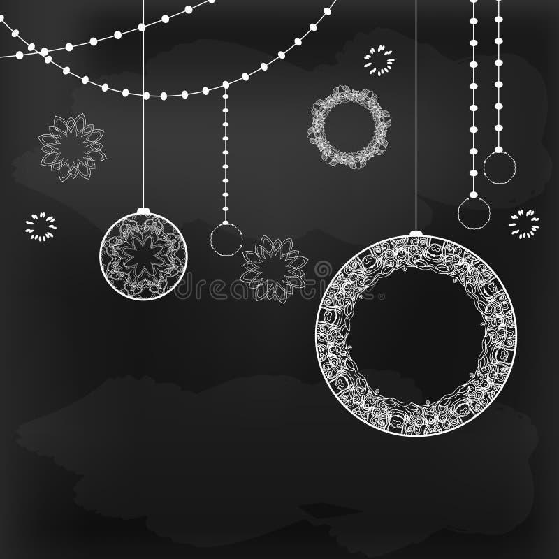 Krijt die decoratief bord trekken vector illustratie