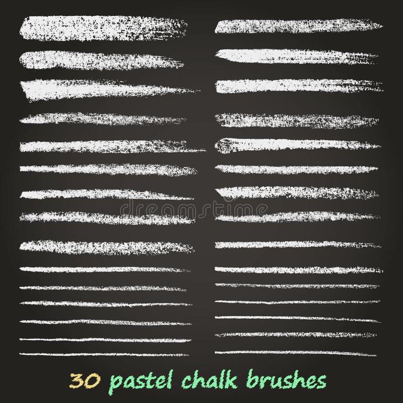 Krijt en houtskool Een reeks vectorpenseelstreken De textuur van Grunge Een hoge resolutie De borstels worden opgeslagen in het p royalty-vrije illustratie