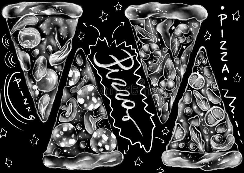 Krijt getrokken van de stijlpizza en kalligrafie woorden op de vlakke zwarte achtergrond stock illustratie